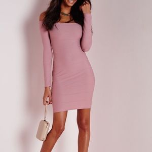 Missguided long sleeve bardot bodycon dress